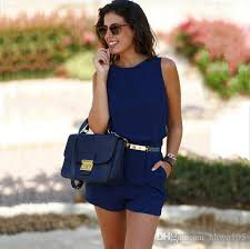 jumpsuit shorts 2018 2017 summer sleeveless jumpsuit with pocket