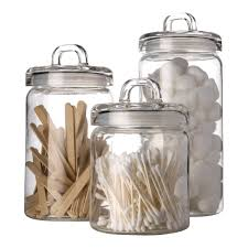 elegant home loop canister set of set of 3 clear glass round with