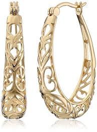 hoop earrings 18k yellow gold plated sterling silver filigree oval