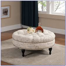 trendy tufted ottoman coffee table round fabric m thippo