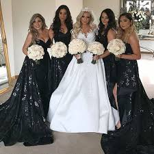 black bridesmaid dresses a line sweetheart court black bridesmaid dress with sequins