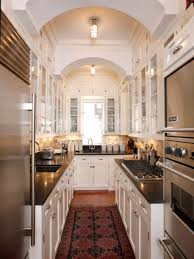 interesting white galley kitchen design featuring industrial