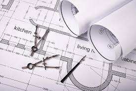 drawing building plans construction of the building plans and drawing tools stock photo