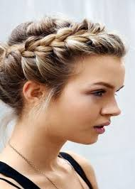 front side french braid bun style for party glance front bun