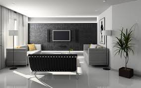 dark grey carving wall connected by grey fabric floating sofa and