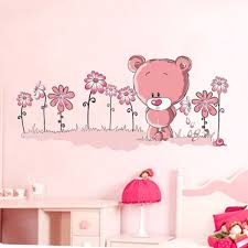 Childrens Bedroom Wall Art Uk Online Shop Pink Teddy Bear Wall Stickers Art Mural Children U0027s