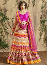 beige designeer lehenga choli for wedding wear