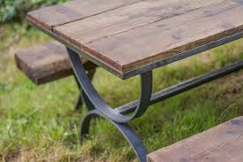 rustic outdoor picnic tables rustic industrial picnic table fermata woodworks