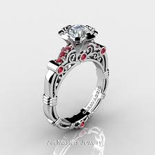 Engagement Rings And Wedding Band Sets by Art Masters Caravaggio 10k White Gold 1 0 Ct White Sapphire Rubies