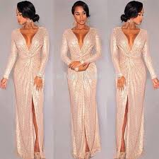 fashion trends deep v neck long sleeves floor length beaded alex