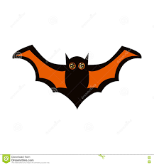 flying black and orange bat vector icon stock vector image