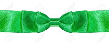 green satin ribbon bow knot on green satin ribbon up isolated on white