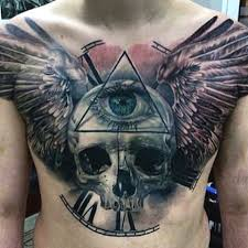 skull with wings on mens chest cool tattoos