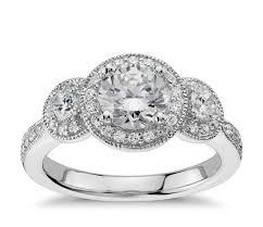 1 2 ct tw three stone milgrain halo diamond engagement ring in