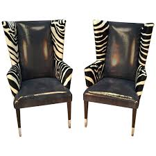 zebra swivel chair pair of modern wingback chairs in zebra printed cowhide and faux