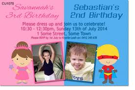 cu1070 unisex superhero and princess birthday invitation twins