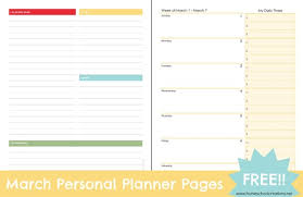 printable planner pages for 2015 free printable march personal planner pages