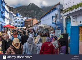Morocco Blue City by Street Market In Chefchaouen The Blue City Of Northern Morocco