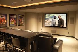 home movie theater screen man cave small room ideas dark brown leather home theater sofa