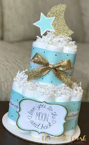 mint gold moon and cake baby shower centerpiece