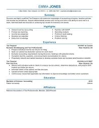 Sample Resumes For Accounting by Unforgettable Tax Preparer Resume Examples To Stand Out
