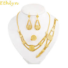 aliexpress buy ethlyn new arrival trendy medusa ethlyn coin necklace set gold plated antique coin earrings bracelet