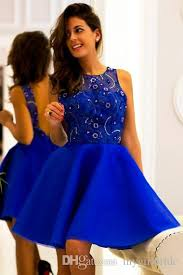 royal blue short homecoming dresses with sparkly beading cocktail