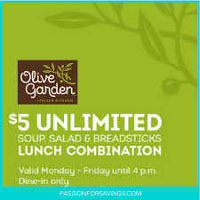 Printable Olive Garden Coupons 5 Soup Salad U0026 Breadsticks Coupon At The Olive Garden