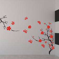 pretty white wall concept decor with awesome floral wall painting