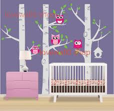 cute owl birds on large three birth trees tree birdhouse room