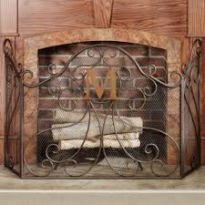 monogrammed fireplace screen 1352