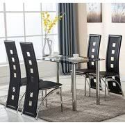 Dining Room Chairs And Tables 5 Glass Dining Table Set 4 Leather Chairs Kitchen Furniture