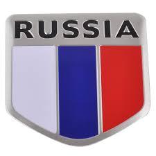 Russian Flag Colors Aluminum Alloy Shield Shape Russia Russian Flag Car Emblem Badge