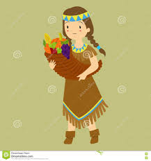 thanksgiving indian costume thanksgiving native carrying fruit horn stock vector image