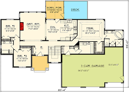 Floor Plans With 3 Car Garage | craftsman ranch with 3 car garage 89868ah architectural