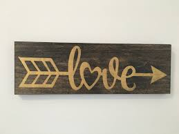 Etsy Valentines Day Decor by Love Arrow Sign Wood Sign Gold Decor Gallery Wall Decor