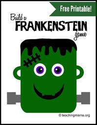Printable Halloween Game by Frankenstein Head Silhouette Image Information