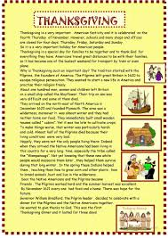 Thanksgiving Comprehension Passages Thanksgiving Reading For Pre Intermediate Worksheet Free Esl