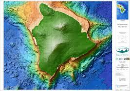 Ocean Depth Map Main Hawaiian Islands Multibeam Synthesis