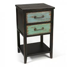 Nightstand With Shelf Bedroom Black Finished Narrow Nightstand With Green Drawers And