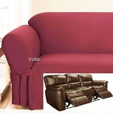 Red Recliner Sofa Reclining Sofa Slipcover Spice Red Ribbed Texture Adapted For Dual