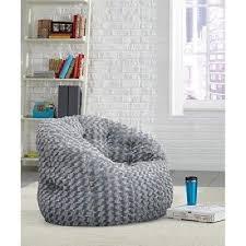large grey faux fur bean bag lounge chair bedroom gaming lounger