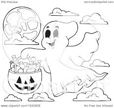happy halloween pumpkin clipart lineart clipart of a cartoon black and white happy halloween ghost