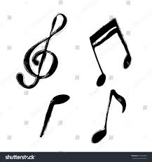 set music notes hand drawn grunge stock vector 561437089