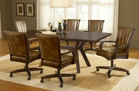 Dining Table And Chairs On Wheels Dining Room Awesome Leather Chairs With Casters Chair Home