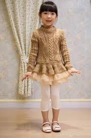 2016 spring kids girls knit sweater dresses baby tulle lace