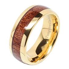gold wedding band mens tungsten carbide ring 8mm wood inlay 14k gold plated men s wedding