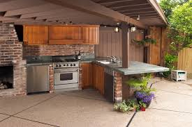 Small Outdoor Kitchen Design by Kitchen Style Stone Countertops Small Refrigerator Barbecue