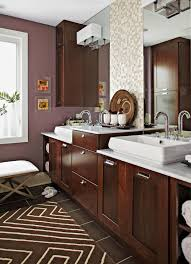 what color goes with brown bathroom cabinets stylish bathroom color schemes better homes gardens