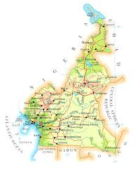 map of cameroon physical and road map of cameroon cameroun physical and road map